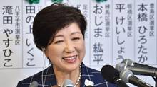 Tokyo Governor Yuriko Koike who currently is the leader of the newly-formed Tomin First no Kai (Tokyo Residents First) party, smiles during a television interview in Tokyo on July 2, 2017, after the Tokyo metropolitan assembly election. (KAZUHIRO NOGI/AFP/Getty Images)