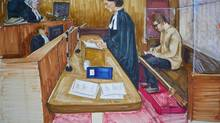 Crown lawyer Damienne Darby addresses the B.C. Supreme Court while the accused Reza Moazami writes in the prisoner's box in this court drawing. (Felicity Don/THE CANADIAN PRESS)