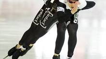 Cindy Klassen leads theCanadian team during the women's team pursuit (Jens Meyer/AP)