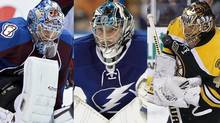 Vezina Trophy finalists Semyon Varlamov, Ben Bishop and Tuukka Rask