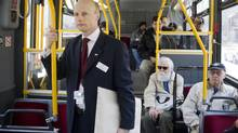 Toronto Transit Commission CEO Andy Byford rides a bus in Toronto on Wednesday March 7, 2012. (Chris Young For The Globe and Mail)