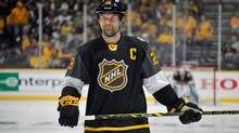 John Scott (28) of the Arizona Coyotes looks on during the 2016 Honda NHL all-star final game between the Eastern conference and the Western conference at Bridgestone Arena on January 31, 2016 in Nashville, Tennessee. (Frederick Breedon/Getty Images)