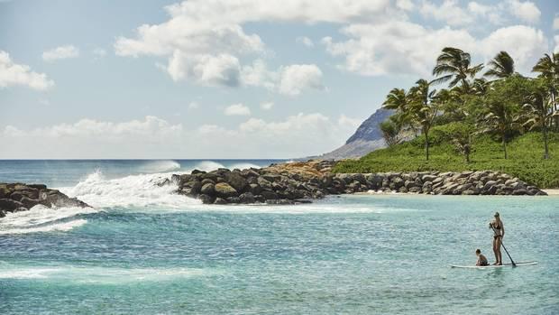 Hawaii, Oahu at Ko Olina. Paddle Boarding.