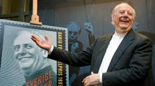Dario Fo, in November, 2008, unveils a Swedish stamp honouring his 1997 Nobel Prize for Literature. (Anders Wujkybd/REUTERS)