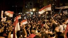 Protesters demonstrate in Cairo's Tahrir Square, Nov. 27, 2012. Demonstrators began flowing into the streets of Cairo Tuesday for a day of protest against President Mohammed Morsi's effort to assert broad new powers, dismissing his efforts only hours before to reaffirm his deference to Egyptian law and courts. (Ivor Prickett/The New York Times)