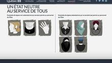 The Quebec government website shows examples of acceptable and unacceptable religious symbols allowed to be worn by public servants, according to its proposed Charter of Quebec Values. (HANDOUT/REUTERS)