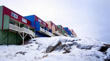 A housing complex in Iqaluit is shown in 2013. (PETER POWER/THE GLOBE AND MAIL)