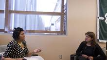 Gurwinder Gill, Director Patient Relations & Diversity, left, during a meeting with patient Satvir Sodhi at William Osler Health Centre in Brampton on May 22, 2013. (Fernando Morales/The Globe and Mail)