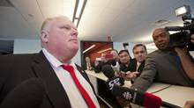 Mayor Rob Ford answers questions about his support of a casino in Toronto during the official opening of Coca-Cola Canada's new headquarters on April 4, 2013. (Galit Rodan/The Globe and Mail)