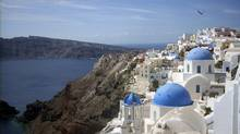 On the famed Aegean island of Santorini, almost three-quarters of the vineyards are planted with the assyrtiko white-wine grape. (Michael Virtanen/AP)