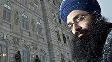 Balpreet Singh, a lawyer at the World Sikh Organization of Canada, poses in front of the Quebec National Assembly after being denied entry on Jan. 18, 2011. (Francis Vachon/Francis Vachon for The Globe and Mail)