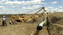 The Keystone pipeline, shown here under construction