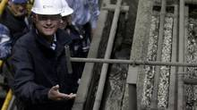 Canadian Prime Minister Stephen Harper tours a copper mine in Minto, Yukon, Tuesday August 21, 2012. (Adrian Wyld/THE CANADIAN PRESS)
