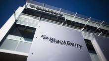 The company logo is seen at the Blackberry campus in Waterloo, September 23, 2013. (MARK BLINCH/REUTERS)