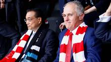 China and Australia, led by heads of government Premier Li Keqiang, left, and Prime Minister Malcolm Turnbull are becoming economically intertwined, but politically and strategically, they are often conflicted. (DAVID GRAY/REUTERS)