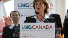 British Columbia Premier Christy Clark speaks at an announcement about a joint venture agreement with Shell Canada Energy, PetroChina Corporation, Korea Gas Corporation and Mitsubishi Corporation to develop a proposed liquefied natural gas (LNG) export project, in Vancouver, B.C., on Wednesday April 30, 2014. (DARRYL DYCK/THE CANADIAN PRESS)