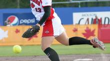 Canada's Danielle Lawrie, sister of Toronto Blue Jays' third baseman Brett Lawrie, pitches against the United States at the 2012 Women's World Fastpitch Championship in Whitehorse, Yukon, Friday, July 20, 2012. The US won 4-2. (Vince Federoff/THE CANADIAN PRESS)