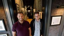 Evan Goldberg, left, and Seth Rogen have teamed up for another project, co-directing the feature comedy The Interview now being shot in and around their home town, Vancouver. (Deborah Baic/The Globe and Mail)