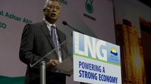 Tan Sri Dato' Shamsul Azhar Abbas, President and Chief Executive Officer of Petronas, speaks during the LNG conference in Vancouver, B.C. Wednesday, May, 21, 2014. (JONATHAN HAYWARD/THE CANADIAN PRESS)