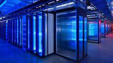 This undated photo provided by Facebook shows the server room at the company's data center in Prineville, Ore. (Alan Brandt/Associated Press)