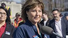 BC Liberal leader Christy Clark listens to questions from the media about the federal government bill to legalize personal use of marijuana at a campaign stop at Kentron Construction, in Kitimat, B.C. on Thursday, April 13, 2017. (Robin Rowland/THE CANADIAN PRESS)