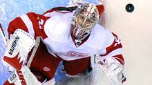 Detroit Red Wings goalie Jimmy Howard looks up at the puck during the first period of an NHL game against the Los Angeles Kings, Wednesday, Feb. 27, 2013, in Los Angeles. (Mark J. Terrill/AP)