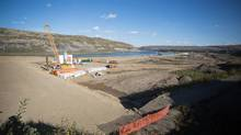 Construction of the Site C dam project's south bank cofferdam is shown in September. (BC Hydro/Globe and Mail Update)