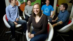 Nat Cartwright is chief operating officer of Payso, a mobile payment startup she co-founded in Vancouver late last year. With her are, from left, employees Johnny Hermann, Stephen Hammond, co-founder and CEO Jake Tyler, and Cole Devoy.