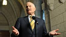 NDP Leader Jack Layton speaks to reporters after a caucus meeting on Parliament Hill on June 2, 2011. (Sean Kilpatrick/THE CANADIAN PRESS)