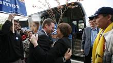 In this 2009 file photo, Carole James is greeted with a hug from Rob Fleming in Victoria. (Deddeda Stemler For The Globe and Mail)