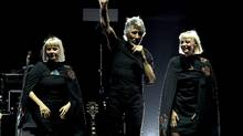 Jess Wolfe and Holly Laessig of Lucius perform with Roger Waters during Desert Trip at the Empire Polo Field on October 9, 2016 in Indio, California. (Kevin Winter/Getty Images)