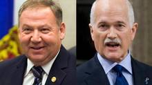 Nova Scotia Premier Darrell Dexter and federal NDP Leader Jack Layton are shonw in a photo combination. (The Canadian Press)