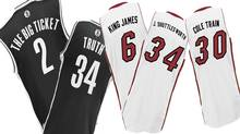 NBA nickname jerseys to be sported by players during the January 10th game in Brooklyn between the Nets and the Heat
