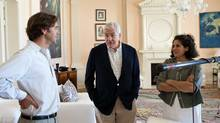 """Conrad Black (centre) with Jennifer Baichwal (right) and Nicholas de Pencier (left) during the shooting of """"Payback"""" (Jeffery A. Salter)"""