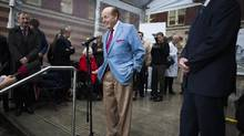 Jim Pattison speaks to the media after making an announcement about a record Canadian philanthropic gift of $75-million to build the Jim Pattison Medical Centre, which is home to the new St. Paul's Hospital in Vancouver, British Columbia, on March 28, 2017. (Rafal Gerszak/The Globe and Mail)