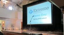 The stage in Toronto set up for the Extreme Startups Demo Day 2013. (The Globe and Mail/Katherine Scarrow)
