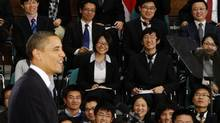 U.S. President Barack Obama participates in a town hall-style meeting with future Chinese leaders at the Museum of Science and Technology in Shanghai on Nov. 16, 2009. (JASON REED)