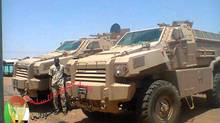 Photos, including the one above, from a now-closed Facebook page of the Sudan armed forces show vehicles that researchers say were built by Streit Security Vehicles and were deployed by the Sudan military in 2013 (Sudanese Armed Forces)