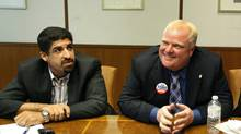 Toronto City Mayoral Candidate Rob Ford, right, and Campaign Manager Nick Kouvalis, left. (Deborah Baic/The Globe and Mail/Deborah Baic/The Globe and Mail)