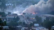 Much of Lac-Mégantic's downtown core was obliterated when a runaway train carrying crude oil derailed and exploded in July, 2013, resulting in 47 deaths. (FRANCOIS LAPLANTE DELAGRAVE/AFP/Getty Images)