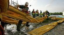 Workers unload oil boom lines to be laid by local fishermen on May 4, 2010 in Hopedale, Louisiana. The Canadian government is vowing to avoid a disaster similar to the Gulf of Mexico oil spill by placing restrictions on drilling plans. (Sandy Huffaker/Getty Images)