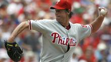 Philadelphia Phillies starting pitcher Jamie Moyer throws against the Toronto Blue Jays in the first inning of an Interleague baseball game Sunday, June 27, 2010, in Philadelphia. (AP Photo/H. Rumph Jr) (H. Rumph Jr)