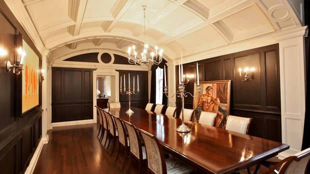 During the renovation, the mahogany-panelled dining room was converted into an office, and the former pantry became the barrel-vaulted dining room. (Mitch Fain)