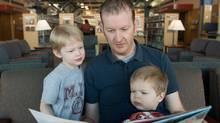 Michael Cusden, a Halifax marketing manager and his two sons, Harrison, age four and Charlie, age one (scott munn for The Globe and Mail)