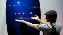 The Powerwall, launched last week by Tesla chief executive officer Elon Musk, is designed to allow homeowners to store electricity generated by solar panels during the day, then use it at other times when the sun is not shining but electricity consumption is higher. (Patrick T. Fallon/Reuters)