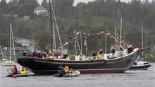 Bluenose II, Nova Scotia's sailing icon, returns to the water in Lunenburg, N.S., after an extensive refit, on Saturday, September 29, 2012. (Andrew Vaughan/THE CANADIAN PRESS)