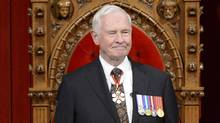 Governor General David Johnston arrives to deliver the Speech from the Throne in the Senate Chamber on Parliament Hill in Ottawa, Wednesday Oct. 16, 2013.