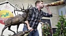 Shane Donner becomes Canadian elk calling champion in Edmonton on March 17, 2013. (JASON FRANSON FOR THE GLOBE AND MAIL)