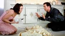 Sandra, played by Lacey Chabert, is devastated by what Connor Mead, played by Matthew McConaughey, has done to her wedding cake in the romantic comedy Ghosts of Girlfriends Past. (Ron Batzdorff/© Ü MMVIII New Line Productions, Inc.)