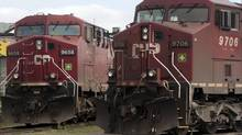 Canadian Pacific locomotives sit in a rail yard in Montreal in this file photo. (Ryan Remiorz/THE CANADIAN PRESS)